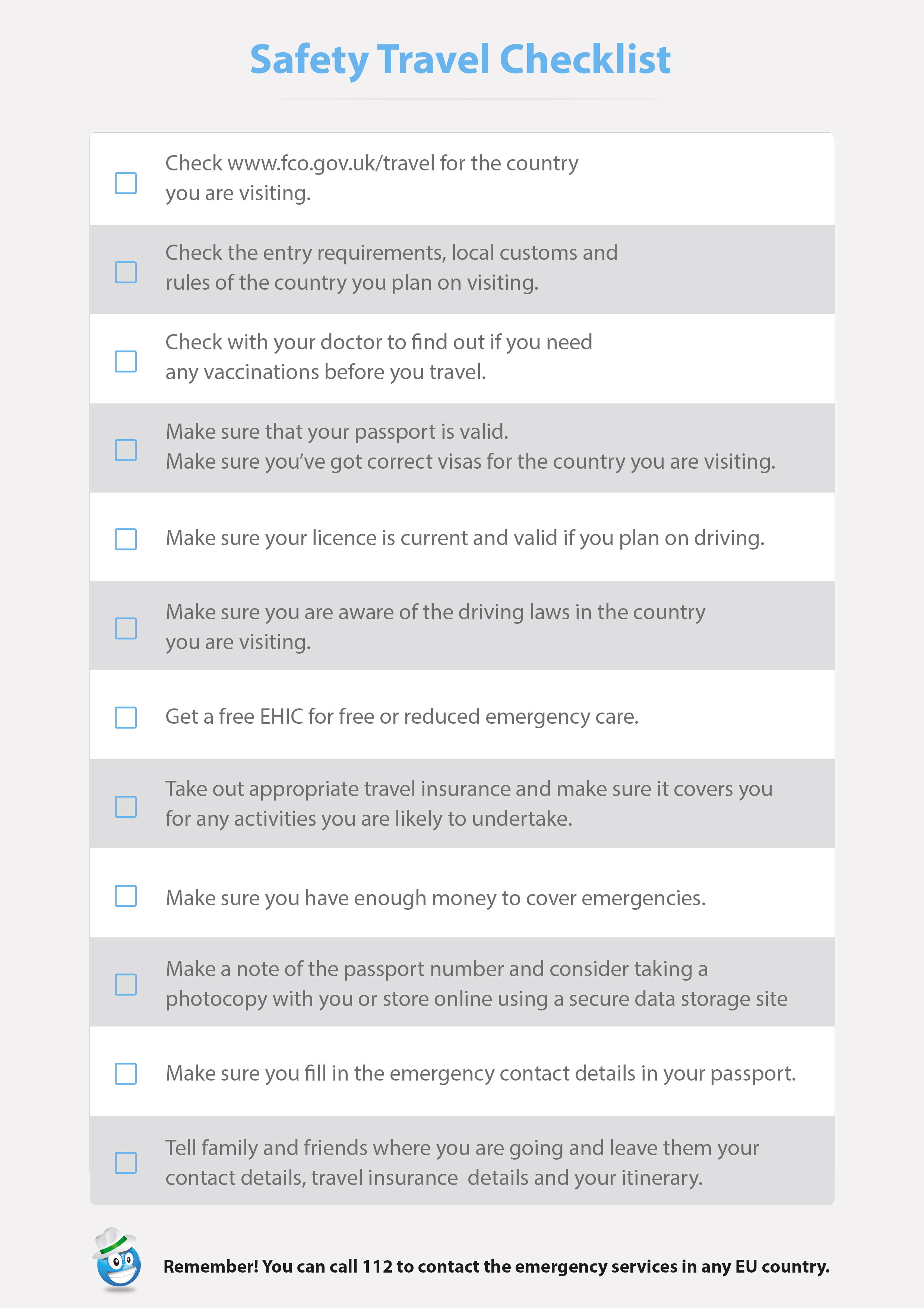 safety travel checklist