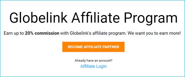 Affiliate homepage