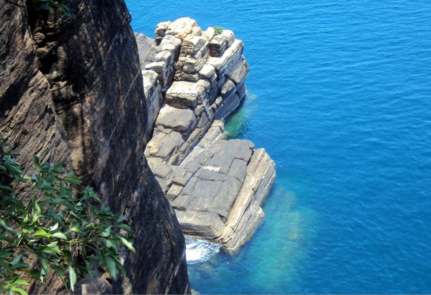 rocks and turquoise water in sri lanka