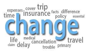 Travel insurance change