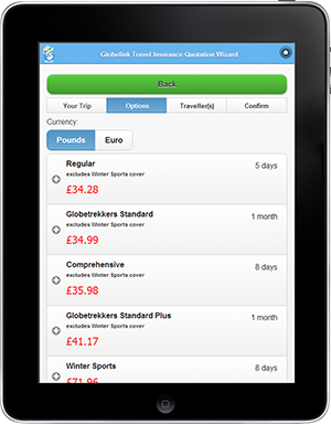 Travel insurance on tablet