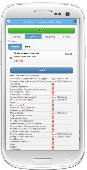 Travel insurance on mobile phone