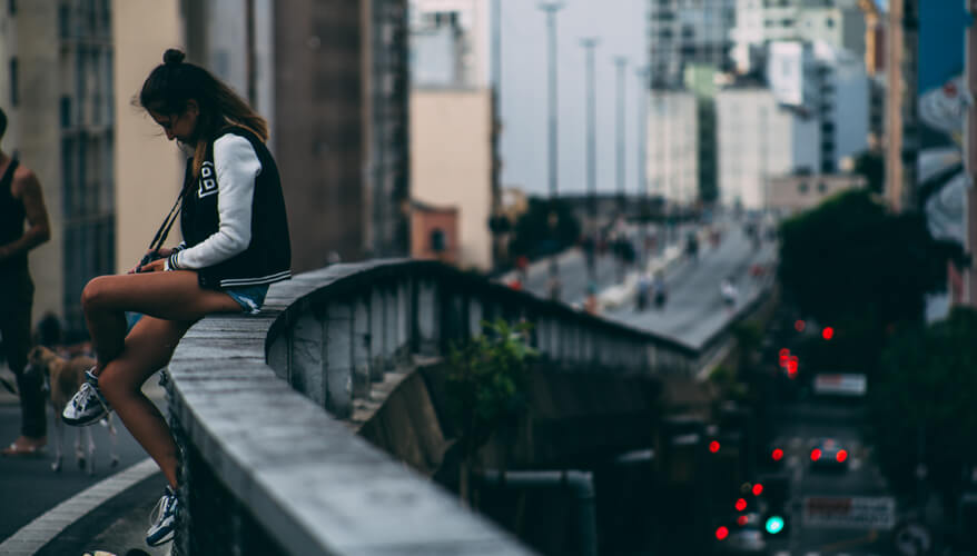 Over a bridge